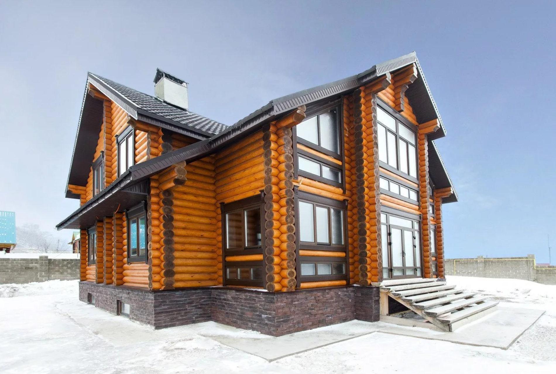 дом из цилиндрического бревна под ключ фото любителей классических традиций